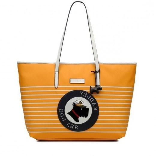 RADLEY SEA DOG MEDIUM ZIP-TOP SHOULDER BAG in BUTTERCUP / yellow leather shopper - flipped