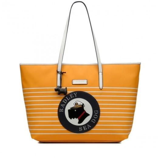 RADLEY SEA DOG MEDIUM ZIP-TOP SHOULDER BAG in BUTTERCUP / yellow leather shopper