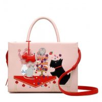 RADLEY LONDON LET THEM EAT CAKE MEDIUM ZIP-TOP MULTIWAY BAG in MARSHMALLOW / cute pink leather-applique handbags