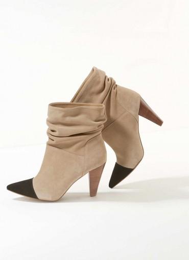 MINT VELVET Megan Sand Toe Cap Suede Boots / slouchy ankle boot