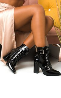 Ikrush Melanie Buckle Heeled Boots in Black Patent