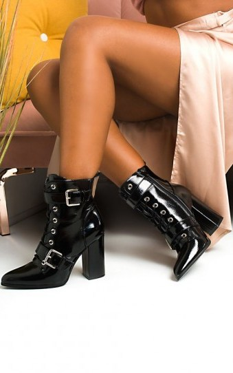Ikrush Melanie Buckle Heeled Boots in Black Patent - flipped