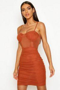 Boohoo Mesh Ruched Mini Dress Rust – strappy dresses