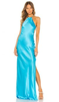 Michael Lo Sordo Halter Maxi Dress in Ice Blue – side slit evening dresses