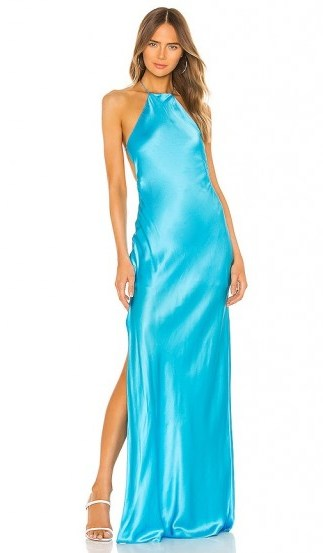 Michael Lo Sordo Halter Maxi Dress in Ice Blue – side slit evening dresses - flipped
