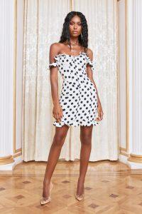 LAVISH ALICE micro ruffle corset mini dress in white spot – monochrome off shoulder dresses