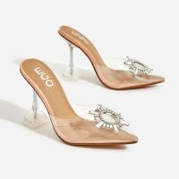 EGO Midnight Diamante Detail Perspex Clear Heel Mule In Nude Patent – going out heels
