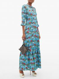 MARY KATRANTZOU Millias floral-print silk-blend cloqué gown in blue