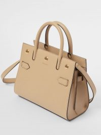 Burberry Mini Leather Two-handle Title Bag Light Beige