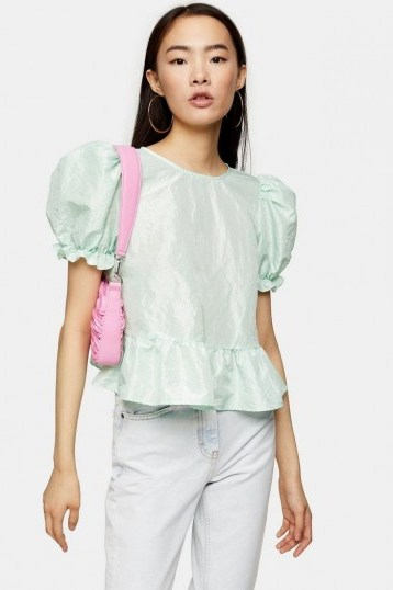 TOPSHOP Mint Bow Back Taffeta Top – puff sleeved blouse - flipped