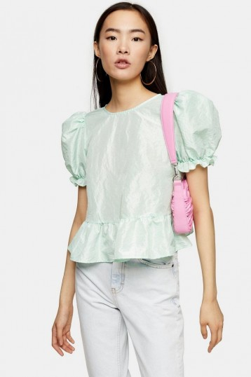 TOPSHOP Mint Bow Back Taffeta Top – puff sleeved blouse