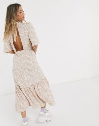 Miss Selfridge open back paisley midi dress in pale pink print