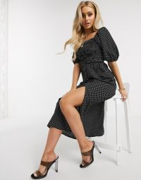 Missguided milkmaid shirred midi dress with puff sleeves in polka dot in black