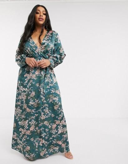 Missguided Plus floral plunge maxi dress