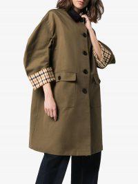 MIU MIU contrast check trench coat in khaki