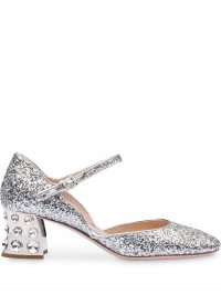 MIU MIU embellished mary jane pumps in silver