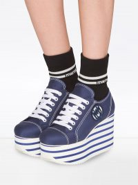 MIU MIU gabardine platform sneakers in baltic blue/white