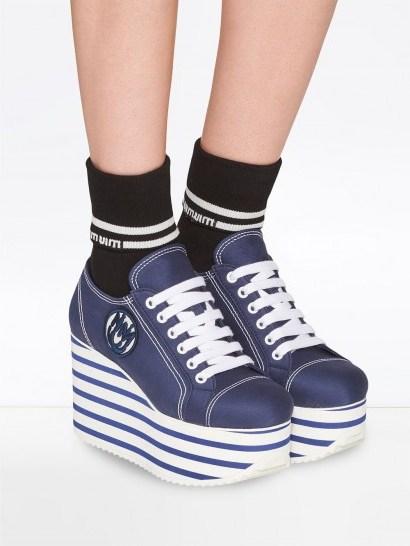 MIU MIU gabardine platform sneakers in baltic blue/white - flipped