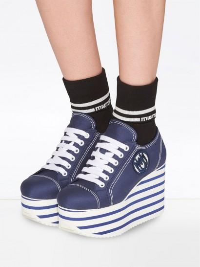 MIU MIU gabardine platform sneakers in baltic blue/white
