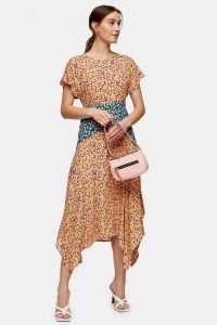 TOPSHOP Mixed Floral Print Hanky Hem Midi Dress