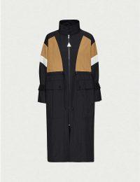 MONCLER Zinzolin contrast-panels shell jacket in black ~ longline rain jackets