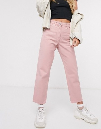 Monki Taiki high waist mom jeans with organic cotton in pink - flipped
