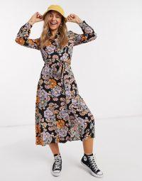 Monki Venera flower print shirt dress in multi floral