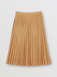 Burberry Monogram Print Crepe De Chine Pleated Skirt Bright Orange | classic design skirts