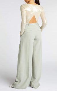 ROLAND MOURET MOSTA TOP in PALE GOLD ~ open back sequinned tops