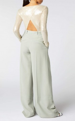 ROLAND MOURET MOSTA TOP in PALE GOLD ~ open back sequinned tops - flipped