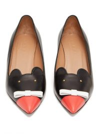 MARNI Mouse leather pumps in black and red ~ cute mice face court shoes