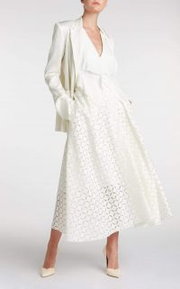 ROLAND MOURET MULLIGAN SKIRT in WHITE ~ full A-line skirts