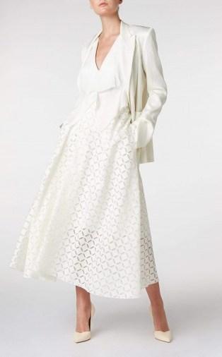 ROLAND MOURET MULLIGAN SKIRT in WHITE ~ full A-line skirts - flipped
