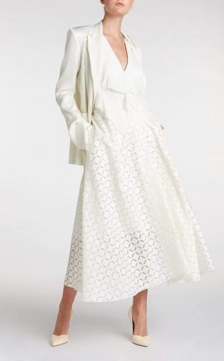 ROLAND MOURET MULLIGAN SKIRT in WHITE ~ full A-line skirts