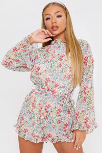 IN THE STYLE MULTI FLORAL TIE WAIST PLAYSUIT – high neck frill trimmed playsuits