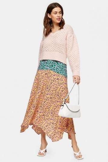 TOPSHOP Multi Mixed Floral Print Skirt / asymmetric hemlines - flipped