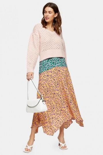 TOPSHOP Multi Mixed Floral Print Skirt / asymmetric hemlines