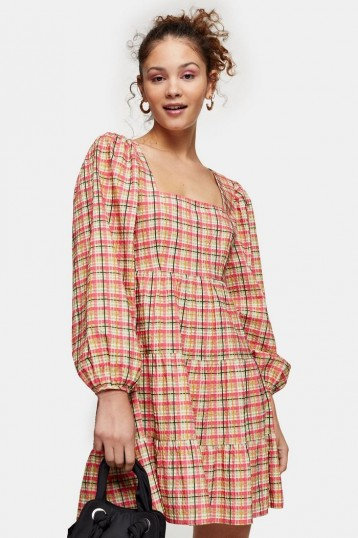TOPSHOP Multi Textured Check Mini Dress / tiered spring dresses
