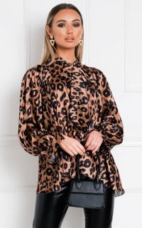 Ikrush Nancy Tie Front Leopard Print Blouse – pussy bow blouses