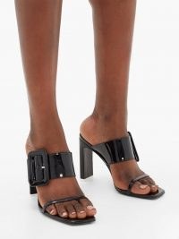 THE ATTICO Naomi buckled patent-leather sandals | large buckle mules