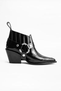 Zadig & Voltaire N'DRICKS GLOSSY ANKLE BOOTS in black
