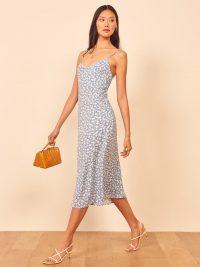 REFORMATION Nella Dress in Azzurro – blue strappy floral print dresses