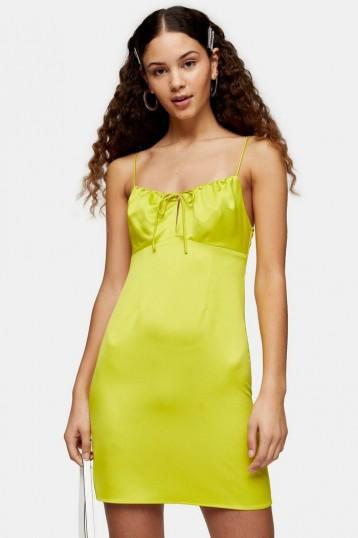 Topshop Neon Yellow Gathered Bust Slip Dress | bright cami dresses