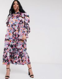 Never Fully Dressed Plus long sleeve fluted sleeve maxi dress in pink floral print
