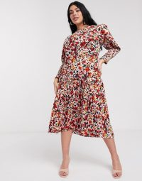 Never Fully Dressed Plus long sleeve pleated skirt maxi dress in orange floral print