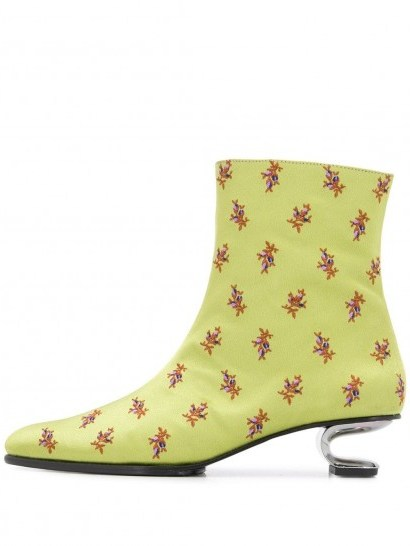 NICOLE SALDAÑA Jenna 45mm floral-print ankle boots in light green - flipped