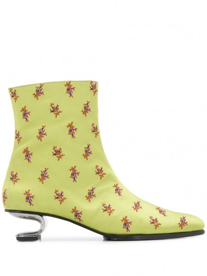 NICOLE SALDAÑA Jenna 45mm floral-print ankle boots in light green