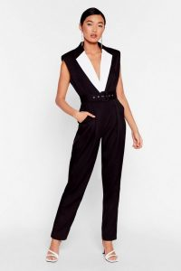 NASTY GAL No Tux Given Monochrome Belted Jumpsuit in Black – evening jumpsuits