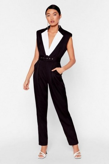 NASTY GAL No Tux Given Monochrome Belted Jumpsuit in Black – evening jumpsuits - flipped
