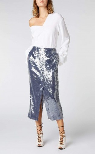 ROLAND MOURET NOBEL SKIRT in NAVY ~ blue sequin pencil skirts - flipped